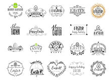 Typographic badges - Happy Easter. On the basis of script fonts, handmade. It can be used to design your printed Stock Photo