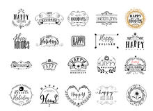 Typographic badges - Happy Holidays. On the basis of script fonts, handmade. It can be used to design your printed Royalty Free Stock Photos