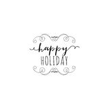 Typographic badges - Happy Holidays. On the basis of script fonts, handmade. It can be used to design your printed Stock Images