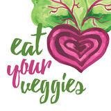 Typographic banner with hand drawn beetroot. Eat your veggies. Stock Photos