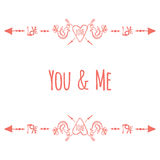 Typographic banner with text You and Me, birds and. Saint Valentines day card.  Typographic banner with text You and Me, birds and hearts with arrow. Vector hand Stock Photo