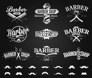 Typographic Barber Shop Emblems chalk drawing Stock Photos