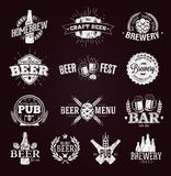 Typographic beer labels and logos. Drawn with chalk stock illustration