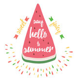 Typographic card with watermelon and quote 'Say hello to summer'. Stock Photography