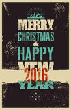 Typographic Christmas greeting card design. Grunge vector illustration. Stock Photo