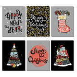 Typographic Christmas and New Year cards collection. Set of 6 cute Xmas and New Year backgrounds for cards, invitations, decor elements Royalty Free Stock Photo
