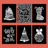 Typographic Christmas and New Year cards collection. Set of 6 cute Xmas and New Year backgrounds for cards, invitations, decor elements Royalty Free Stock Photos