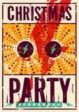 Typographic Christmas Party grunge vintage poster design. Retro vector illustration. Stock Photos