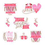 Typographic collection for Happy Valentines Day. Stock Photography
