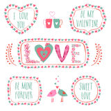 Typographic collection for Happy Valentines Day. Stock Image