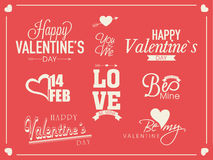 Typographic collection for Happy Valentines Day celebration. Stock Photography