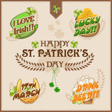 Typographic collection for St. Patricks Day celebration. Beautiful typographic collection with ornaments for Happy St. Patricks Day celebration Royalty Free Stock Image