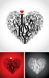 Typographic composition in a heart shape Royalty Free Stock Photography