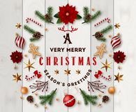 Free Typographic Composition Of Christmas Postcard With Vintage Label And Christmas Wishes Decorated With Festive Elements. Stock Photography - 132158752
