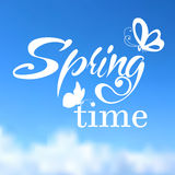 Typographic Design. Lettering Spring design with Stock Image