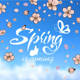 Typographic Design. Lettering Spring design with Royalty Free Stock Photos