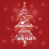 Typographic design in pine for Christmas and New Year event Stock Images