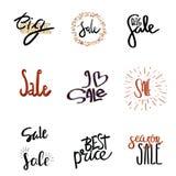 Typographic design: sale, big sale, season sale, i love sale, best price. Lettering calligraphy set: sale, big sale, season sale, best price stock illustration