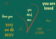 Typographic design text set for valentine day. Modern elements for business, banner or decoration. stock illustration