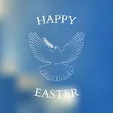 Typographic Easter Dove With Olive Branch On Stock Image