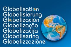 Typographic Globalisation Concept. The Word Globalisation Written in Many Different Languages stock images