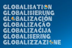 Typographic Globalisation Concept. The Word Globalisation Written in Many Different Languages royalty free stock images