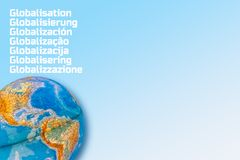 Typographic Globalisation Concept. The Word Globalisation Written in Many Different Languages stock image