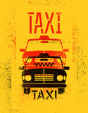 Typographic graffiti retro grunge taxi cab poster. Vector illustration. Stock Images
