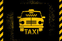 Typographic graffiti retro grunge taxi cab poster. Vector illustration. Royalty Free Stock Photography