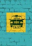 Typographic graffiti retro grunge taxi cab poster. Vector illustration. Royalty Free Stock Image