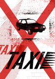 Typographic Graffiti Taxi poster. Vector grunge illustration. Stock Photo