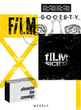 Typographic Grunge Design for Film Society. Vector illustration. Royalty Free Stock Photo