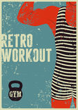 Typographic Gym vintage grunge poster design with strong man. Retro vector illustration. Royalty Free Stock Images
