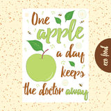 Typographic hand drawn banner with green apple, bee, flower and text. Stock Photo