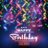 Typographic happy birthday vector background Stock Photos
