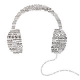 Typographic headphones. Typography headphones - music concept image Stock Image