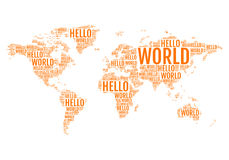 Typographic hello world map,  Royalty Free Stock Photos