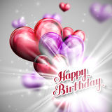 Typographic illustration of handwritten Happy Birthday re Royalty Free Stock Photos