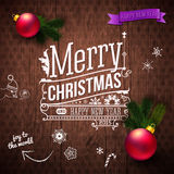 Typographic label for Christmas and New Year. Stock Photos