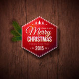 Typographic label for Merry Christmas and Happy New Year. Stock Photo