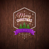 Typographic label Merry Christmas and Happy New Year. Royalty Free Stock Photos