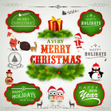 Typographic, label or sticker collection for Christmas and New Y Royalty Free Stock Photography