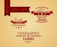 Typographic logo and ribbon set. Vector illustration of simple sample typographic logos Stock Photo
