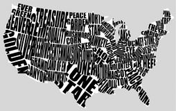 Typographic map of the US Royalty Free Stock Photos