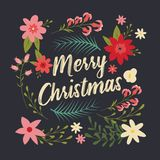 Typographic Merry Christmas card with floral decorative elements stock illustration