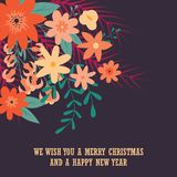 Typographic Merry Christmas card with floral decorative elements royalty free illustration