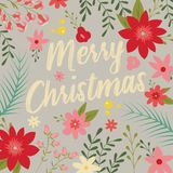 Typographic Merry Christmas card with floral decorative elements vector illustration