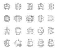 Typographic Monograms Black on White Stock Photos