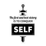 Typographic poster with aphorism The first and best victory is to conquer self. Black letters on white background royalty free illustration