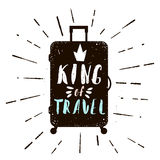 Typographic poster with case silhouette. King of Travel text. Vector Illustration in retro style Stock Photography